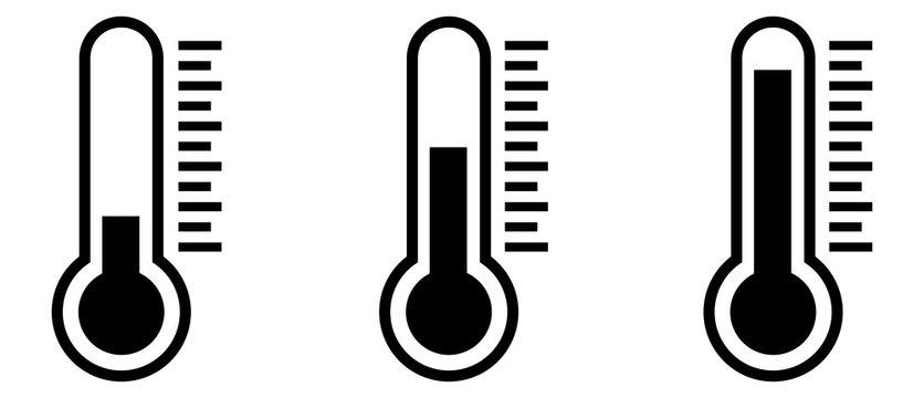 Temperature Symbol Set .Three vector thermometer showing the temperature . Thermometer icon.