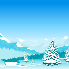 Canvas Prints Turquoise Cartoon Winter Landscape Banner Card Poster. Vector