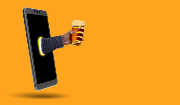 smartphone, hand and beer - real picture and 3D rendering