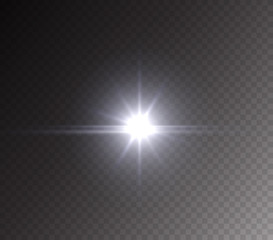 Camera flash light effect isolated on transparent background. White flashlignt, flare, projector rays or spotlight. Vector glow car headlight template..