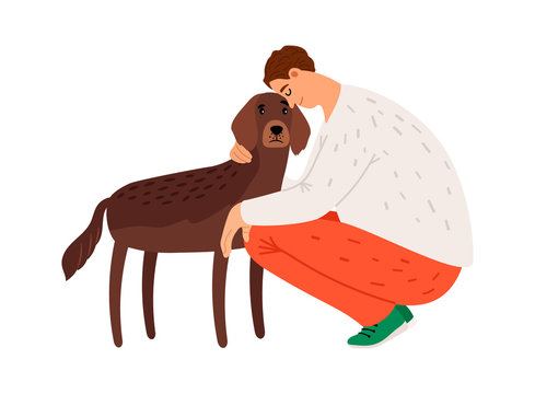 Man hugs setter. Dog and owner. Isolated tired human with his pet. Puppy lover vector character