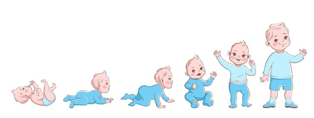 Baby growth process. Life cycle stages development, child from newborn to preschool. Boy crawling, sitting and going, vector cartoon characters