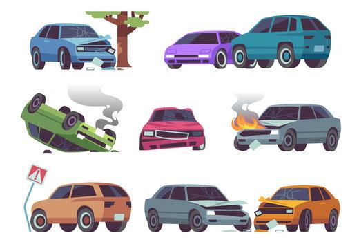 Car accident. Damaged vehicle on road, auto crash, cars collision. Traffic, transportation service insurance claim auto damage vector set
