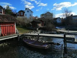 Boats in Vaxholm, Sweden.