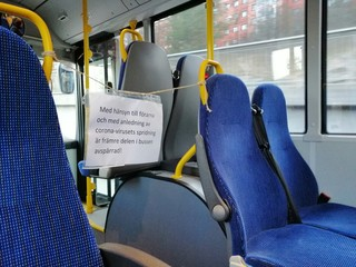 Restricted area in a swedish bus. Coronavirus.