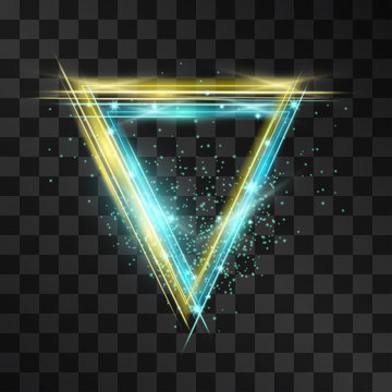 Laser glow vintage vector frame of triangle scintillation. Blue and yellow neon light effect blinking flares on transparent background. Club culture decorative banner. Flashes and sparkles disco party