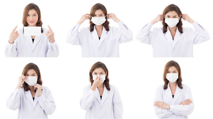 Asian woman show how to wear hyhiene mask
