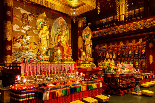 Altar inside the Buddha Tooth Relic Temple in Chinatown District, Singapore.