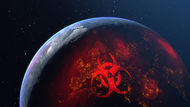 3D illustration of spreading the virus across the globe of planet Earth
