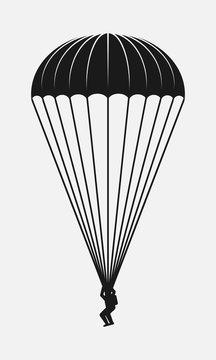 Parachutist black and white vector icon.