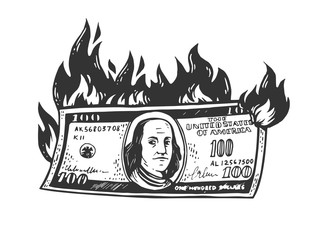 burning dollars money sketch engraving vector illustration. T-shirt apparel print design. Scratch board imitation. Black and white hand drawn image.