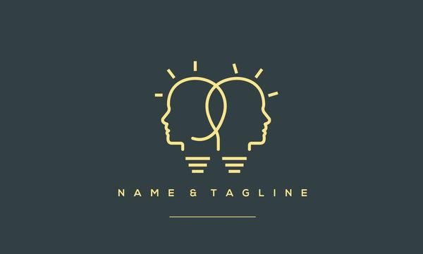 A line art icon logo of a 2 light bulbs with heads