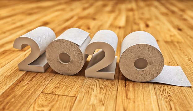 Global outbreak of coronavirus infection, pandemic of covid-19, quarantine, panic buying and hoarding concept, 2020 symbol made from toilet paper rolls on wooden floor background