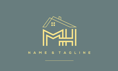 Alphabet letter icon logo MH with a house