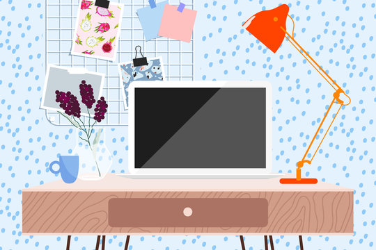 Workspace in a light room. Laptop and lamp on the table, memory board on the wall. Trendy light blue room interior illustration. Working from home. Working desk. Modern design for banner, card design.