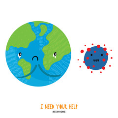 Coronavirus concept. Illustration of sad planet Earth and virus. Protection campaign or measure from coronavirus.Corona virus self-quarantine. Isolation period at home.