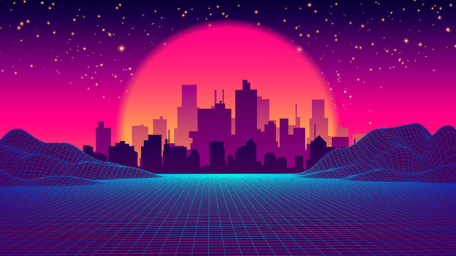 Retro Future of the 80s 1980s Retro Futuristic Background Style. Road to the City at Sunset in the Style of the 1980s. Digital Retro Cityscape Sci-Fi Summer Landscape. Digital Landscape in Cyber World