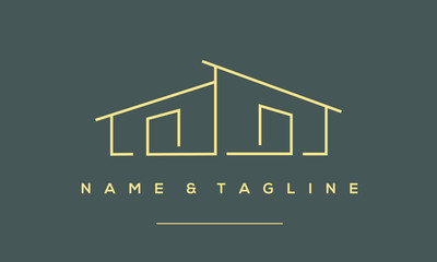 a line art icon logo a modern stylish house, home