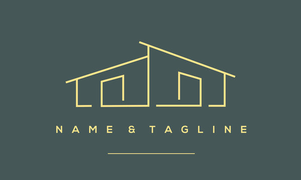 a line art icon logo a modern stylish house, home