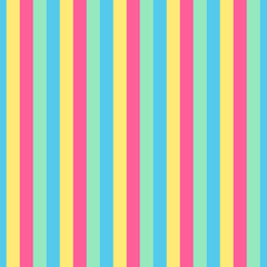 Abstract colorful vector seamless pattern backround with pink, blue, yellow, green stripes, vertical lines.