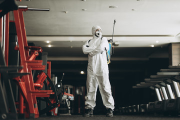 Cleaning and Disinfection in crowded places amid the coronavirus epidemic Gym cleaning and...