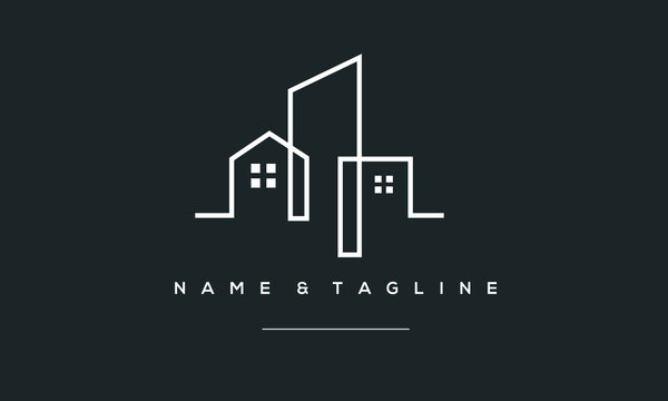 A line art icon logo of a building/ slyline