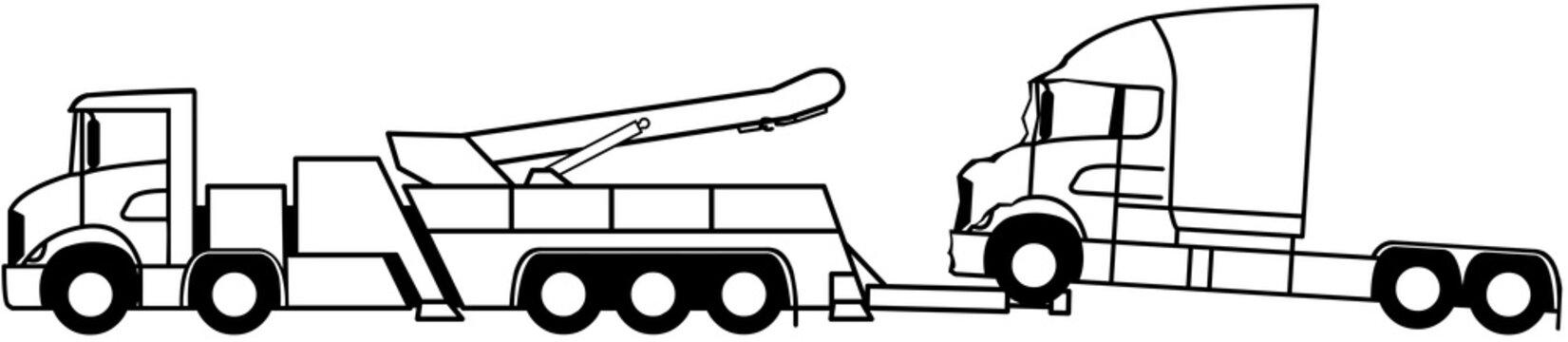 Truck towing - Wrecker truck - Heavy duty tow truck - Road Wrecker Truck - assistance - shape - silhouette - monochrome 10x4 -american - icon