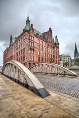 Historical warehouses in Speicherstad district in Hamburg, Germany