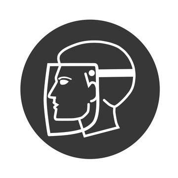 Gesichtsschutz mit Visier - Vektor Illustration - icon