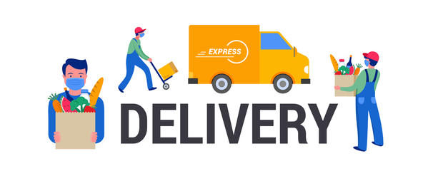 Door stickers Wall Decor With Your Own Photos Safe online delivery during the coronavirus pandemic - online order tracking, delivery door to door, home and office. Warehouse, truck, drone, scooter and bicycle courier, delivery man in respiratory