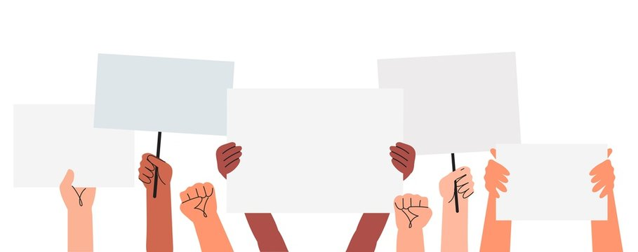Vector illustration of people holding signs, banner and placards on a protest demostration or picket. People against violence, pollution, descrimination, human rights violation.
