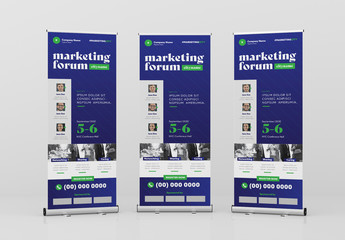 Standing Roll-Up Banner with Navy Blue Accent
