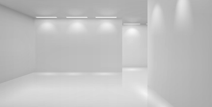 Art gallery empty 3d room with white walls, floor and illumination lamps. Museum interior passages with lights for pictures presentation, photography contest exhibition hall, Realistic vector mock up