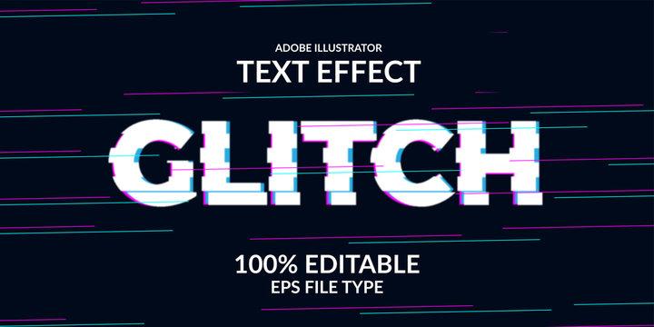techno glitch text effect. Adobe illustrator editable font. Modern and futuristic modern distortion