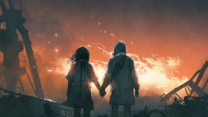 Tuinposter Grandfailure We'll get through this together, lovers holding hands looking at fire flames in the rainy night, digital art style, illustration painting