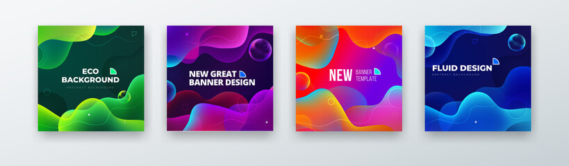 Liquid Color Background Design. Fluid Gradient Abstract Shapes Composition. Futuristic Design Background for Social Banner and Poster. Eps10 vector Papier Peint
