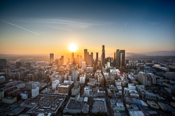 Aerial view of Los Angeles at sunset Wall mural