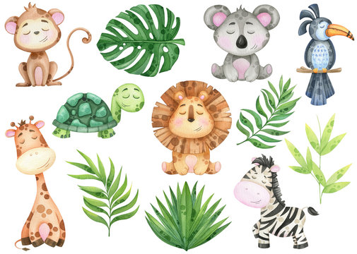 big watercolor set of tropical animals and leaves on white background