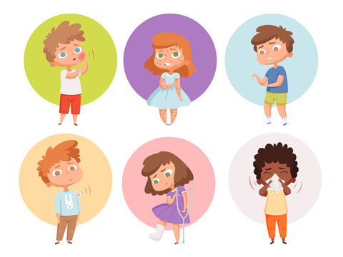 Sick kids. Health problems children flu unhealthy people sickness vomiting vector characters. Unhealthy character with flu, child with get virus and cough illustration