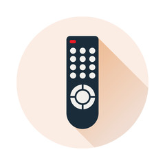 Remote control for TV or media center. Flat icon with long shadow inside the circle shape. Infrared controller symbol. Vector eps8 illustration.