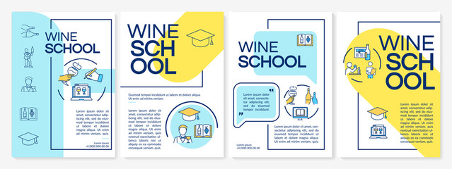 Wine school brochure template. Learn winemaking from online expert. Flyer, booklet, leaflet print, cover design with linear icons. Vector layouts for magazines, annual reports, advertising posters Wall mural
