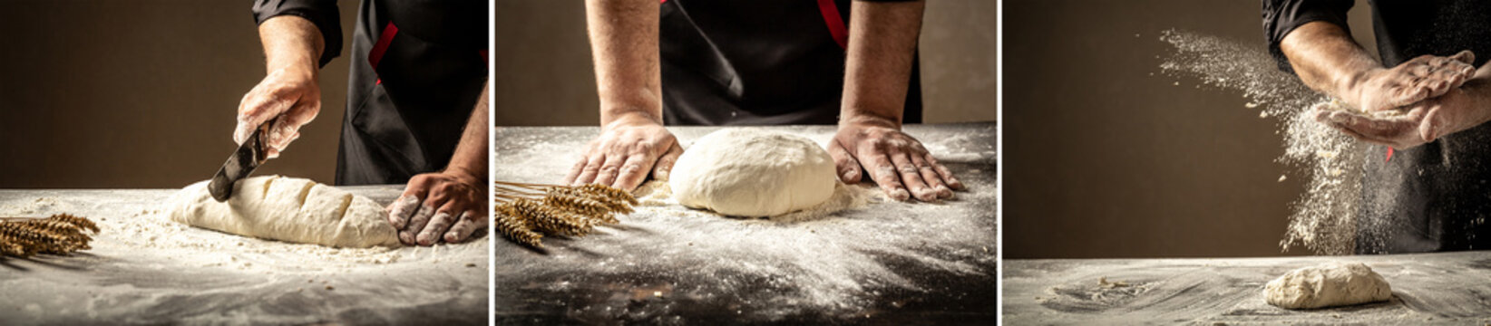 Beautiful and strong men's hands knead the dough from which they will then make bread, pasta or pizza. A cloud of flour flies around like dust. Food concept. diverse set. background image