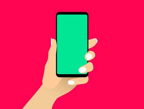 Female Hand Shows Smartphone Blank Screen