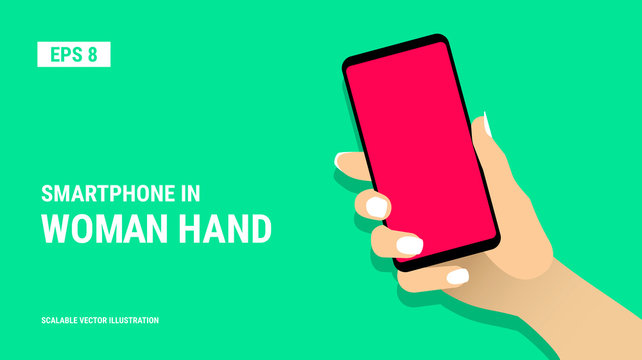 Female hand shows smartphone with blank red display. Woman hold cell phone in arm. Presentation template for mobile application or service. Touch screen gadget flat design. Vector EPS8 illustration.