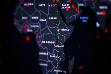 Foto op Plexiglas Afrika Africa. Coronavirus COVID-19 global cases Map. World map on monitor display.