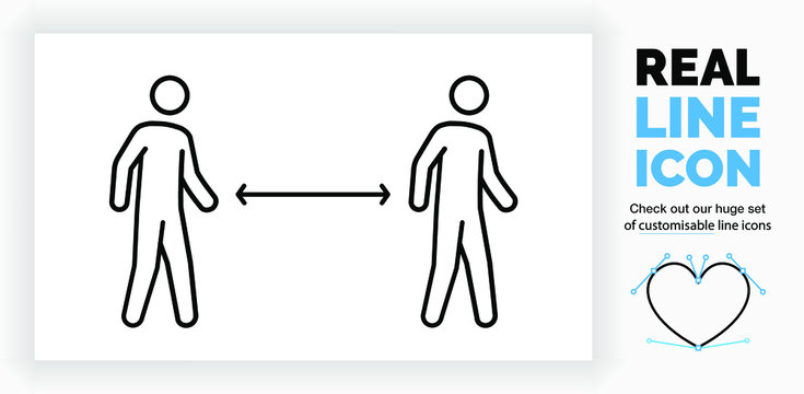 editable real line icon of two walking stick figure people having social distance to prevent infection and spread of the corona virus in public in full body view in black lines as a eps vector file