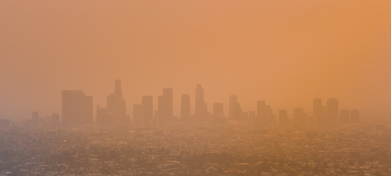 Los Angeles Skyline With Smog and Smoke