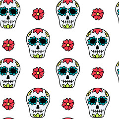 Cinco de Mayo holiday seamless pattern with skulls