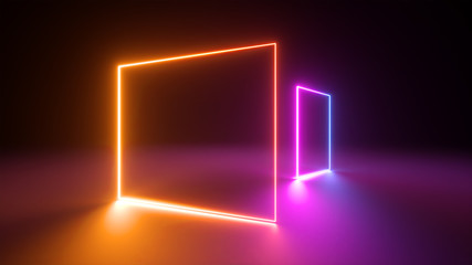 3d render, abstract colorful neon light background. Performance stage laser show illumination. Rectangular geometric shapes, blank square frames, virtual reality. Glowing lines. Modern minimal design Wall mural