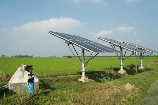 solar panels produce electric which can run submerge water pump for irrigation of water in agricultural field